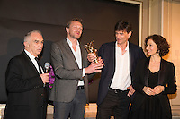 (L-R) President of Academie des Cesars Alain Terzian, Winners of the 'Daniel Toscan du Plantier' Producer's Price, Nicolas Altmayer and his brother Eric Altmayer, for all of their production over the year 2016, and French Minister of Culture and Communication, Audrey Azoulay attend the 'Diner des Producteurs' - Producer's Dinner - Cesar 2017. Held at Four Seasons Hotel George V on February 20, 2017 in Paris, France. # DINER DES PRODUCTEURS DES CESAR 2017