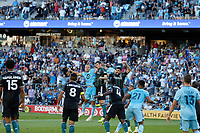 ST PAUL, MN - AUGUST 14: Chase Gasper #77 of Minnesota United FC with the header during a game between Los Angeles Galaxy and Minnesota United FC at Allianz Field on August 14, 2021 in St Paul, Minnesota.