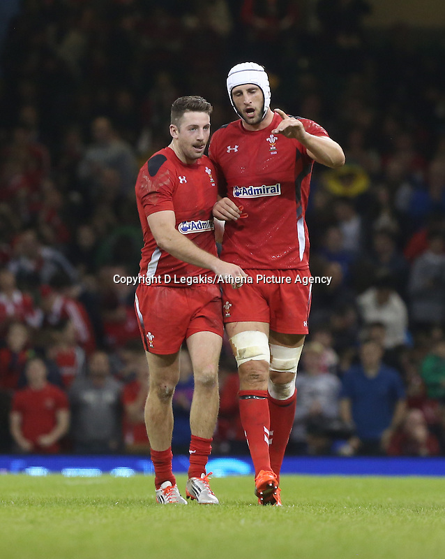 Pictured L-R: Alex Cuthbert of Wales with team mate Luke Charteris after the former's try.  Saturday 15 November 2014<br /> Re: Dove Men Series rugby, Wales v Fiji at the Millennium Stadium, Cardiff, south Wales, UK.