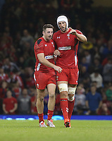 Pictured L-R: Alex Cuthbert of Wales with team mate Luke Charteris after the former's try.  Saturday 15 November 2014<br />