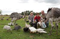 Vogelwiese, Mädchen und Tierpfleger füttern Vögel auf einer Wiese, Gänse, Enten, Tauben, Nandu, Wildtierhilfe Fiel