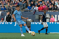 FOXBOROUGH, MA - SEPTEMBER 29: Jesus Medina #19 of New York City FC passes the ball during a game between New York City FC and New England Revolution at Gillette Stadium on September 29, 2019 in Foxborough, Massachusetts.