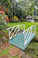 Gardens with bridge and gazebo at Maui Tropical Plantation. Maui. Hawaii