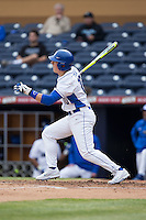 Peter Zyla (10) of the Duke Blue Devils follows through on his swing against the California Golden Bears at Durham Bulls Athletic Park on February 20, 2016 in Durham, North Carolina.  The Blue Devils defeated the Golden Bears 6-5 in 10 innings.  (Brian Westerholt/Four Seam Images)