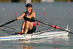 Rowing, single sculler, Julie Nichols at the start, LW1x, US Rowing National Team, FISA World Rowing Championships, Idroscalo Park, Milan, Lombardy, Italy, Europe, 2003,.