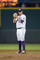 Winston-Salem Dash starting pitcher Brannon Easterling (27) looks to his catcher for the sign against the Buies Creek Astros at BB&T Ballpark on April 13, 2017 in Winston-Salem, North Carolina.  The Dash defeated the Astros 7-1.  (Brian Westerholt/Four Seam Images)