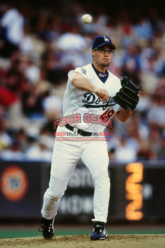 Eric Gagne of the Los Angeles Dodgers during a game at Dodger Stadium circa 1999 in Los Angeles, California. (Larry Goren/Four Seam Images)