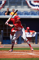 Palm Beach Cardinals center fielder Blake Drake (23) at bat during a game against the Charlotte Stone Crabs on April 10, 2016 at Charlotte Sports Park in Port Charlotte, Florida.  Palm Beach defeated Charlotte 4-1.  (Mike Janes/Four Seam Images)