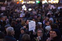 A view of demonstrators at Place de la Republique following the massacre at Charlie Hebdo in Paris where masked gunmen killed 12 people. Paris, France. Jan. 7, 2015.