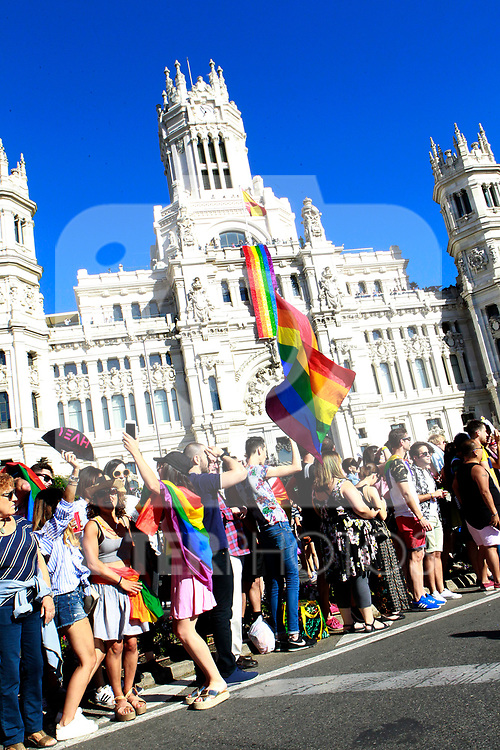 Town Hall of Madrid during the demonstration of World Pride Madrid 2017. July 1, 2017. (ALTERPHOTOS/Acero)