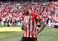 29th May 2021; Wembley Stadium, London, England; English Football League Championship Football, Playoff Final, Brentford FC versus Swansea City; Pontus Jansson of Brentford with a winners medal after they won 2-0 and promoted to the premier league