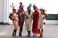 1st May 2021; Kentucky, USA;  Ladies get dressed up and show off their fancy hats during the 147th running of the Kentucky Derby on May 01st, 2021 at Churchill Downs in Louisville,  Kentucky, USA.
