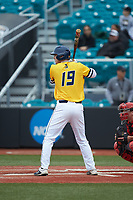 Mike Ferrara (19) of the UNCG Spartans at bat against the San Diego State Aztecs at Springs Brooks Stadium on February 16, 2020 in Conway, South Carolina. The Spartans defeated the Aztecs 11-4.  (Brian Westerholt/Four Seam Images)