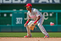 24 May 2015: Philadelphia Phillies infielder Maikel Franco in action during a game against the Washington Nationals at Nationals Park in Washington, DC. The Nationals defeated the Phillies 4-1 to take the rubber game of their 3-game weekend series. Mandatory Credit: Ed Wolfstein Photo *** RAW (NEF) Image File Available ***