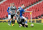 St Mirren v St Johnstone…09.05.21  Scottish Cup Semi-Final Hampden Park <br />Chris Kane is fouled by Richie Tait and Jake Doyle-Hayes<br />Picture by Graeme Hart.<br />Copyright Perthshire Picture Agency<br />Tel: 01738 623350  Mobile: 07990 594431
