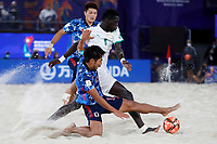 28th August 2021; Luzhniki Stadium, Moscow, Russia: FIFA World Cup Beach Football tournament; Semi final match Japan versus Senegal: Japan's Takumi Saito competes with Mandione Diagne of Senegal, during the match between Japan and Senegal
