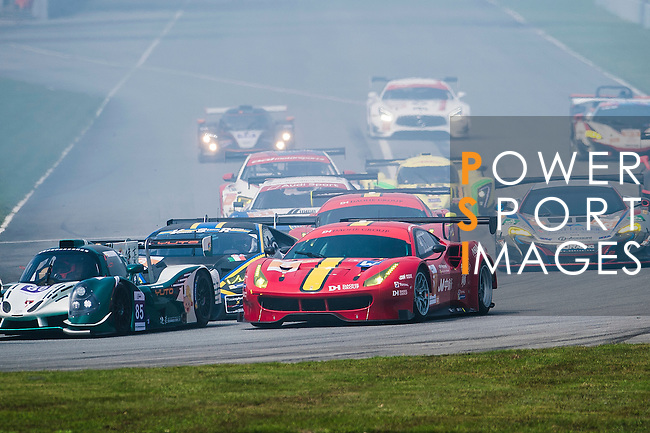 DH Racing, #5 Ferrari 488 GT3, driven by Chaoyin Wei, Michele Rugolo and Frederic Vervich in action during the 2016-2017 Asian Le Mans Series Round 1 at Zhuhai Circuit on 30 October 2016, Zhuhai, China.  Photo by Marcio Machado / Power Sport Images