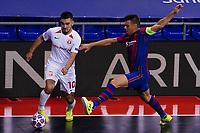 9th October 2020; Palau Blaugrana, Barcelona, Catalonia, Spain; UEFA Futsal Champions League Finals; FC Barcelona versus MFK KPRF;  Artem Niyazov of MFK takes on Lozano of Barca