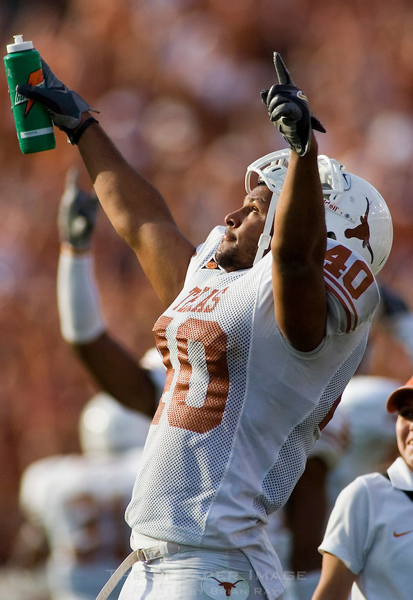07 October 2006: Texas defender Robert Killebrew celebrates a favorable ruling by officials during the Longhorns 28-10 victory over the University of Oklahoma Sooners at the Cotton Bowl in Dallas, TX.