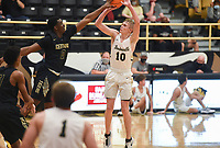 Bentonville guard Hayden Shanks (10) shoots, Saturday, November 14, 2020 during a basketball game at Bentonville High School in Bentonville. Check out nwaonline.com/201115Daily/ for today's photo gallery. <br /> (NWA Democrat-Gazette/Charlie Kaijo)