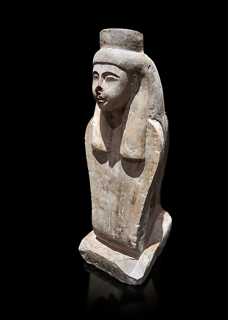 Ancient Egyptian statue of the goddess Meretseger, limestone, New Kingdom, 19-20th Dynasty, (1480-1390 BC), deir el Medina. Egyptian Museum, Turin. black background. Cat 957.