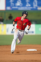 Louie Lechich (21) of the Kannapolis Intimidators hustles towards third base against the Delmarva Shorebirds at CMC-Northeast Stadium on June 7, 2015 in Kannapolis, North Carolina.  The Shorebirds defeated the Intimidators 9-1.  (Brian Westerholt/Four Seam Images)