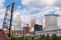 The skyline of Cleveland, Ohio as viewed over the Cuyahoga River from the Flats.