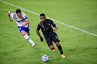 LOS ANGELES, CA - SEPTEMBER 02: of the LAFC moves with the ballDiego Palacios #12 during a game between San Jose Earthquakes and Los Angeles FC at Banc of California stadium on September 02, 2020 in Los Angeles, California.