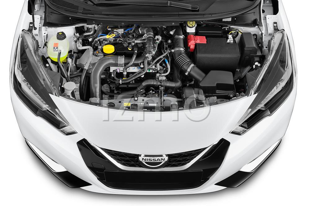 Car Stock 2021 Nissan Micra N-Sport 5 Door Hatchback Engine  high angle detail view