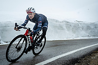 Gianluca Brambilla (ITA/Trek - Segafredo) descending from the Passo Giau<br /> <br /> due to the bad weather conditions the stage was shortened (on the raceday) to 153km and the Passo Giau became this years Cima Coppi (highest point of the Giro).<br /> <br /> 104th Giro d'Italia 2021 (2.UWT)<br /> Stage 16 from Sacile to Cortina d'Ampezzo (shortened from 212km to 153km)<br /> <br /> ©kramon