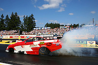 Aug. 4, 2013; Kent, WA, USA: NHRA funny car driver John Hale during the Northwest Nationals at Pacific Raceways. Mandatory Credit: Mark J. Rebilas-USA TODAY Sports