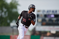 Batavia Muckdogs Brayan Hernandez (23) running the bases during a NY-Penn League game against the Auburn Doubledays on June 19, 2019 at Dwyer Stadium in Batavia, New York.  Batavia defeated Auburn 5-4 in eleven innings in the completion of a game originally started on June 15th that was postponed due to inclement weather.  (Mike Janes/Four Seam Images)