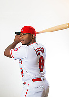 Feb 19, 2019; Tempe, AZ, USA; Los Angeles Angels outfielder Justin Upton poses for a portrait during media day at Tempe Diablo Stadium. Mandatory Credit: Mark J. Rebilas-USA TODAY Sports