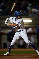 Rancho Cucamonga Quakes right fielder Donovan Casey (19) at bat during a California League game against the Lake Elsinore Storm at LoanMart Field on May 19, 2018 in Rancho Cucamonga, California. Lake Elsinore defeated Rancho Cucamonga 10-7. (Zachary Lucy/Four Seam Images)