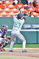 Notre Dame Fighting Irish second baseman Cavan Biggio (23) awaits a pitch during a game against the Clemson Tigers during game one of a double headers at Doug Kingsmore Stadium March 14, 2015 in Clemson, South Carolina. The Tigers defeated the Fighting Irish 6-1. (Tony Farlow/Four Seam Images)