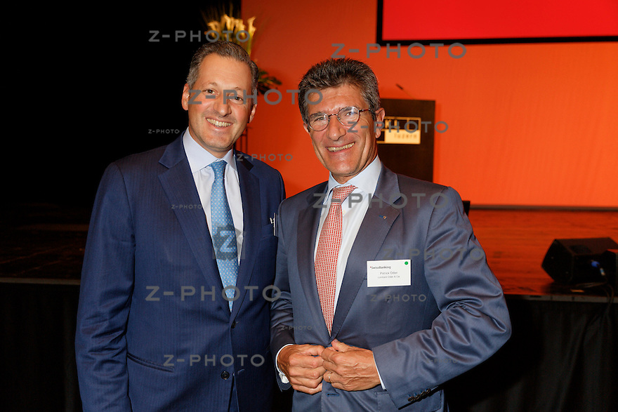 v.l.n.r. Boris Collardi; Julius Bär Gruppe AG, Patrick Odier; Banque Lombard Odier & Cie SA<br /> am Bankiertag vom 16. September 2014 im KKL<br /> Luzern<br /> <br /> Copyright © Zvonimir Pisonic