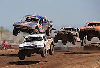 Apr 17, 2011; Surprise, AZ USA; LOORRS driver Carl Renezeder (17) leads Ricky Johnson (48) during round 4 at Speedworld Off Road Park. Mandatory Credit: Mark J. Rebilas-