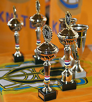 Rotterdam, The Netherlands, 07.03.2014. NOJK ,National Indoor Juniors Championships of 2014, 12and 16 years, Trophy table<br /> Photo:Tennisimages/Henk Koster