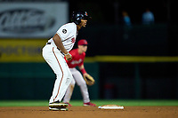 Rochester Red Wings pinch runner Rafael Bautista (17) leads off second base during a game against the Worcester Red Sox on September 3, 2021 at Frontier Field in Rochester, New York.  (Mike Janes/Four Seam Images)