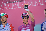 Maglia Ciclamino French Champion Arnaud Demare (FRA) and Groupama-FDJ at sign on before the start of Stage 8 of the 103rd edition of the Giro d'Italia 2020 running 200km from Giovinazzo to Vieste, Sicily, Italy. 10th October 2020.  <br /> Picture: LaPresse/Massimo Paolone | Cyclefile<br /> <br /> All photos usage must carry mandatory copyright credit (© Cyclefile | LaPresse/Massimo Paolone)