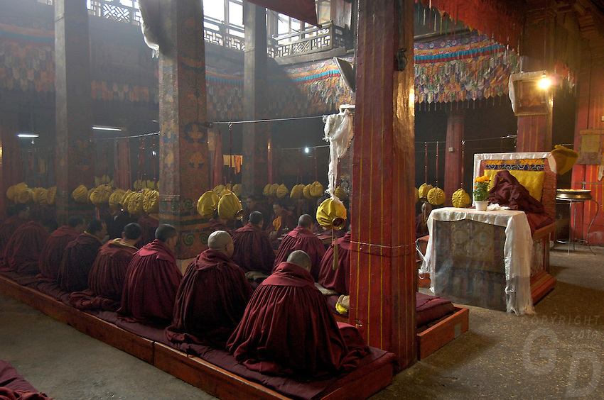Buddhist Monks Inside old and ancient Monasterie Tibet