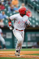 Louisville Bats second baseman Jermaine Curtis (1) runs to first after hitting a home run during a game against the Buffalo Bisons on June 20, 2016 at Coca-Cola Field in Buffalo, New York.  Louisville defeated Buffalo 4-1.  (Mike Janes/Four Seam Images)