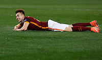 Calcio, andata degli ottavi di finale di Champions League: Roma vs Real Madrid. Roma, stadio Olimpico, 17 febbraio 2016.<br /> Roma's Stephan El Shaarawy lies on the pitch during the first leg round of 16 Champions League football match between Roma and Real Madrid, at Rome's Olympic stadium, 17 February 2016.<br /> UPDATE IMAGES PRESS/Riccardo De Luca
