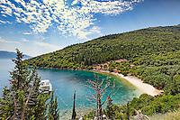 A Yacht at Chorgota beach in Kefalonia island, Greece
