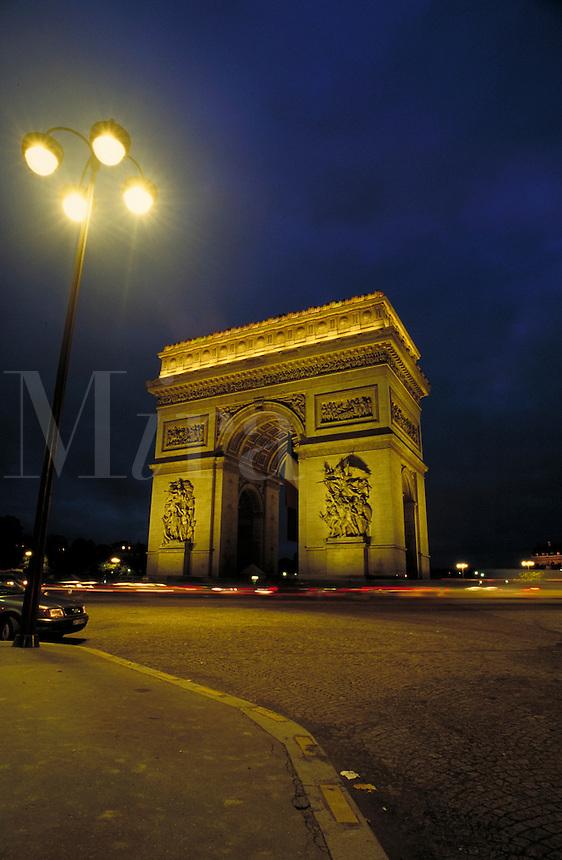Arc de Triomphe at night. Paris, France. Paris, France.