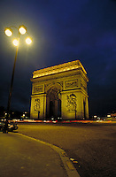 Arc de Triomphe at night. Paris, France. Paris, France.