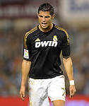 SANTANDER - SEPTEMBER 21:  Cristiano Ronaldo of Real Madrid reacts during the La Liga soccer match between Real Racing Club and Real Madrid at El Sardinero Stadium on September 21, 2011 in Santander, Spain. Photo by Victor Fraile / The Power of Sport Images