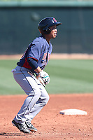 Chun-Hsiu Chen #10 of the Cleveland Indians runs the bases during a Minor League Spring Training Game against the Los Angeles Dodgers at the Los Angeles Dodgers Spring Training Complex on March 22, 2014 in Glendale, Arizona. (Larry Goren/Four Seam Images)