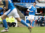St Johnstone v Motherwell…07.04.18…  McDiarmid Park    SPFL<br />Scott Tanser's free kick goes wide<br />Picture by Graeme Hart. <br />Copyright Perthshire Picture Agency<br />Tel: 01738 623350  Mobile: 07990 594431