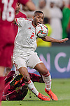 Ali Hassan Ali Salmin of United Arab Emirates (top) fights for the ball with Almoez Ali of Qatar (bottom) during the AFC Asian Cup UAE 2019 Semi Finals match between Qatar (QAT) and United Arab Emirates (UAE) at Mohammed Bin Zaied Stadium  on 29 January 2019 in Abu Dhabi, United Arab Emirates. Photo by Marcio Rodrigo Machado / Power Sport Images